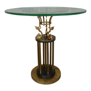 Vintage Hollywood Regency Brass Coy Fish Accent Table