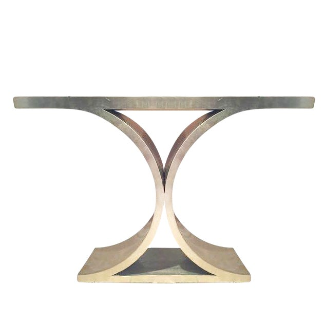 Silver Lacquered Wood & Nickel Console Table - Image 1 of 10