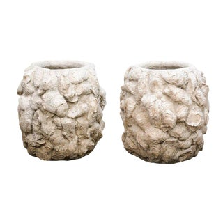 Pair of Round Concrete Shell Planters from the Mid-20th Century