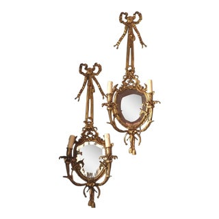 Brass Mirror Sconces Tassel Bow Design - A Pair