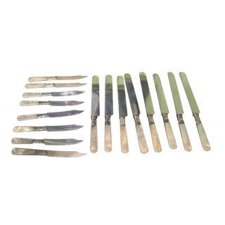 Landers Mother of Pearl & Sterling Knife Set - Set of 16