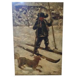 JC Fine Arts Child Skier Painting