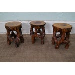 Image of Mid Century Small Tree Stump Carved End Tables