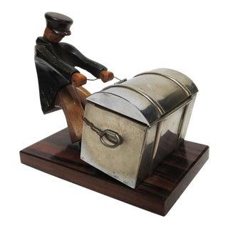 Art Deco Carved Wooden Man Cigarette Box