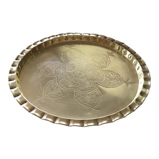 Vintage Round Bohemian Mid-Century Brass Tray