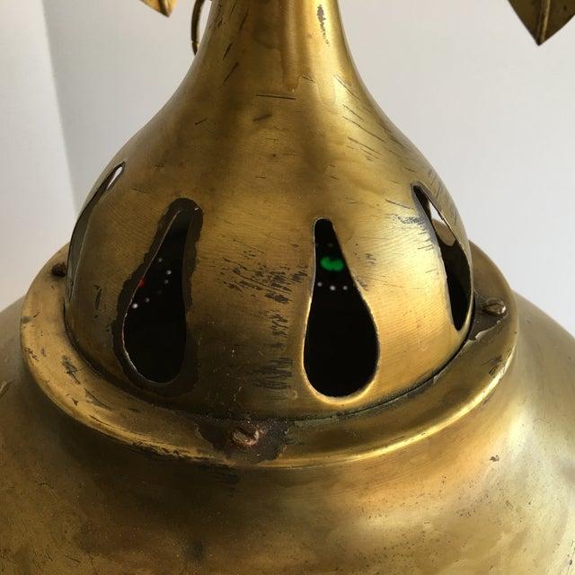 Midcentury Moroccan Brass Pendant Light - Image 8 of 10