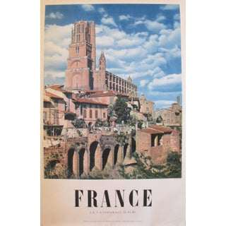 1950s Vintage French Travel Poster, Albi Cathedral