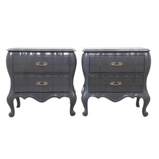 White Fine Furniture Bombe Chests, Pair