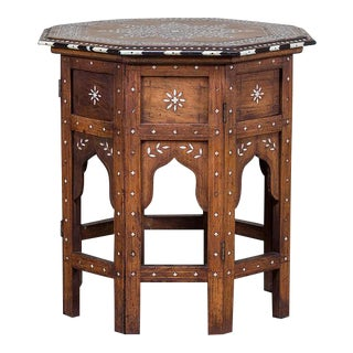 Antique Inlaid Indian Folding Table from Hoshiapur circa 1890