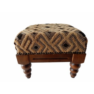 Velvet Kuba Cloth Wooden Footstool