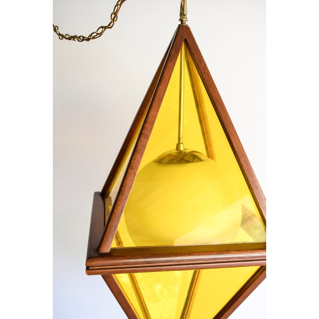 Mid-Century Teak & Yellow Pendant Light - Image 6 of 11
