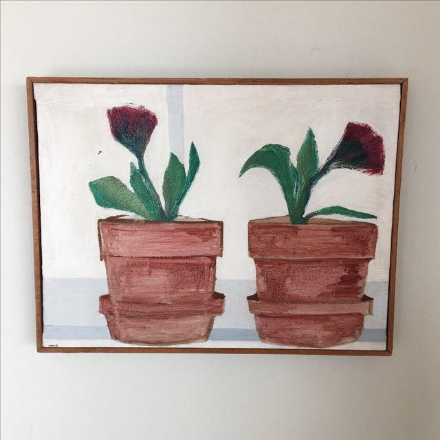 Mid-Century Flower Pot Painting - Image 2 of 10