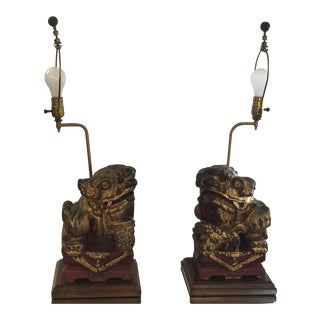 Antique Carved Chinese Foo Dog Lamps A Pair