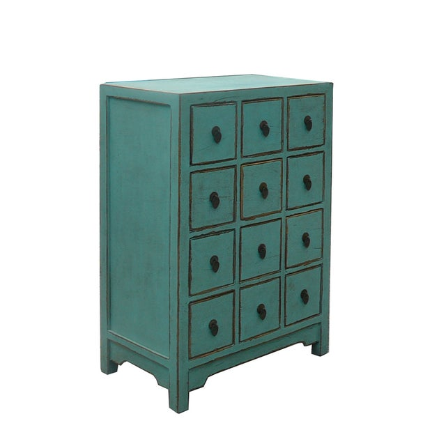 Image of Chinese Rustic Turquoise Cabinet Side Table