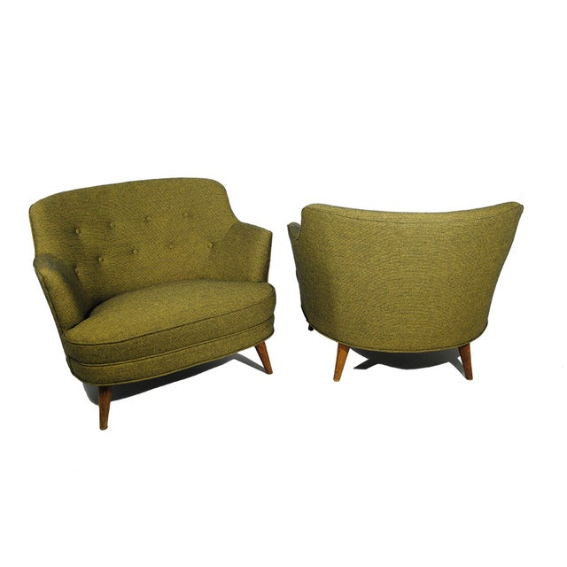 Mid-Century Extra Wide Occasional Green Chairs - Image 2 of 5