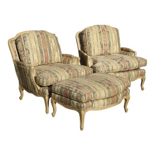 Sam Moore French Striped Accent Chair & Ottoman - Set of 3