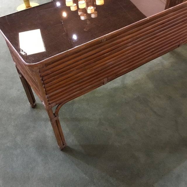Vintage Rattan Desk With Glass Top Chairish