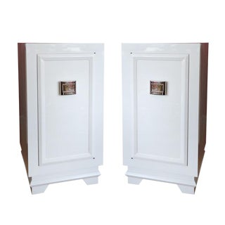 1940s White Lacquer Nightstands - A Pair