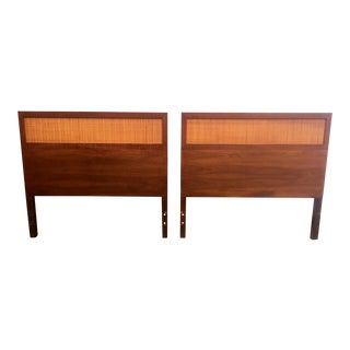 Mid-Century Cane & Walnut Twin Beds - A Pair
