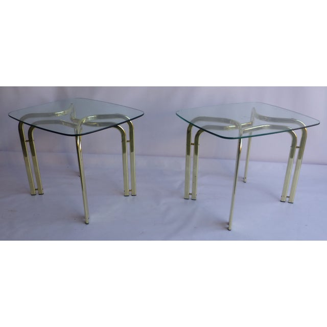 Milo Baughman Brass and Glass End Table - A Pair - Image 2 of 6