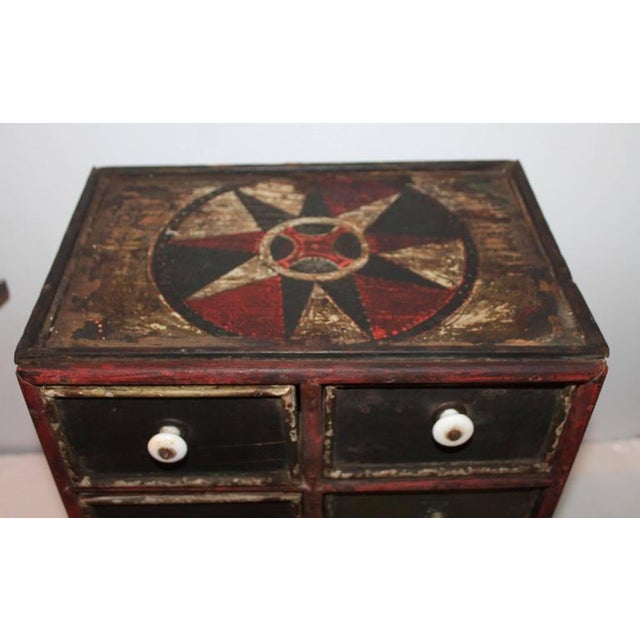 19th Century Original Paint Decorated Tabletop Apothecary Cabinet - Image 4 of 8