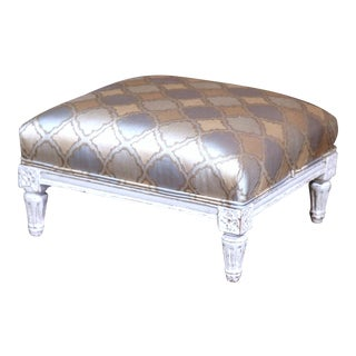1 of 7 images 19th Century French Louis XVI Carved Painted Footstool with Silk Fabric