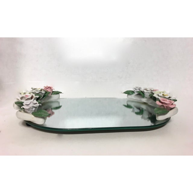 Vintage Mirrored Porcelain Floral Vanity Tray Chairish