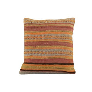 Vintage Orange Striped Kilim Pillow