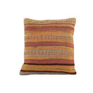 Vintage Orange Striped Kilim Pillow