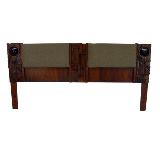 Brutalist Mid-Century Modern Lighted King Headboard