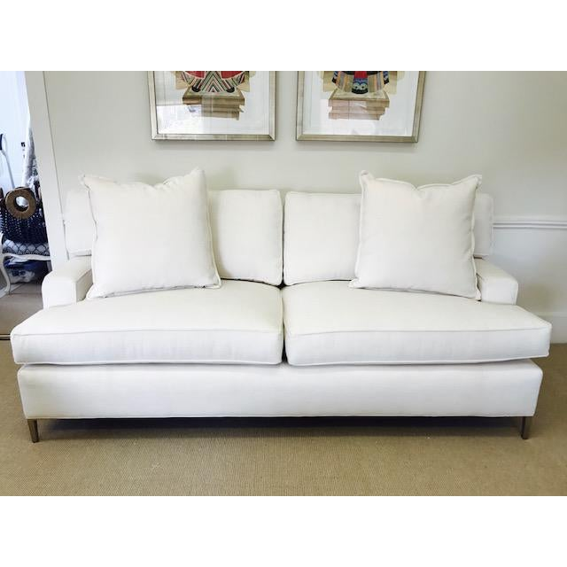 """Ivory Crypton Home Upholstered """"Tribeca Sofa"""" With Brass Legs - Image 2 of 4"""