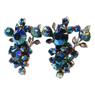 Blue Rhinestone Floral Earrings