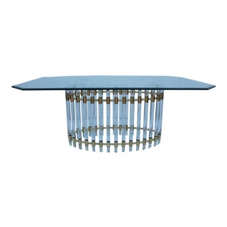 Karl Springer Attributed Lucite & Brass Dining Table
