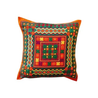 Hand-Embroidered Pillow Cover