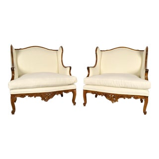 19th Century Antique French Louis XV-Style Wing Chairs - a Pair