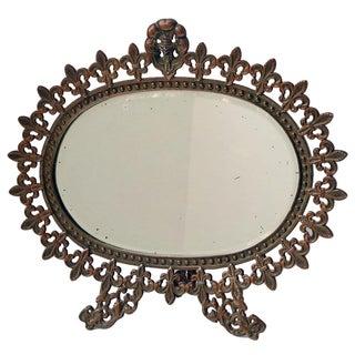 Antique Brass Standing Vanity Mirror