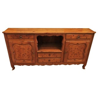 Antique French Country Inlaid Fruitwood Sideboard Buffet