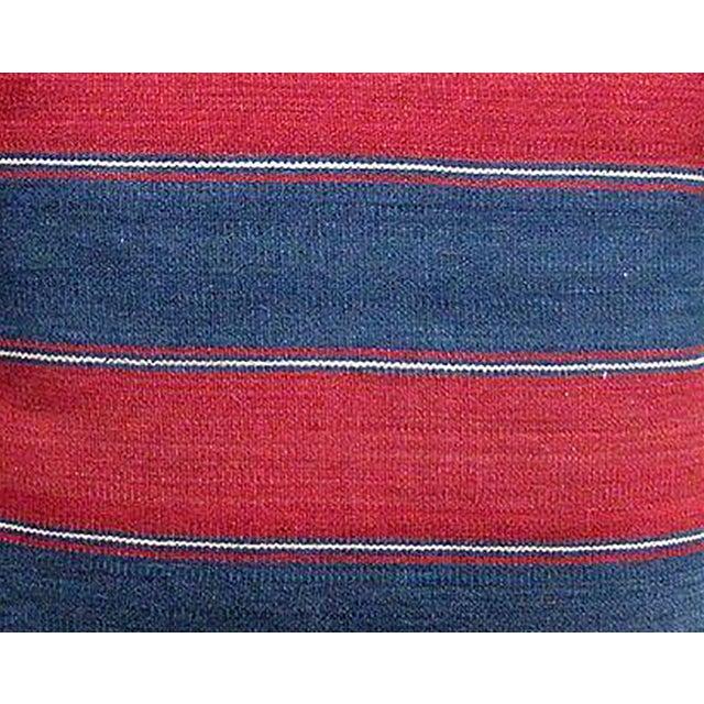 Caucasus 19th C. Blue & Red Striped Kilim Pillow - Image 2 of 2