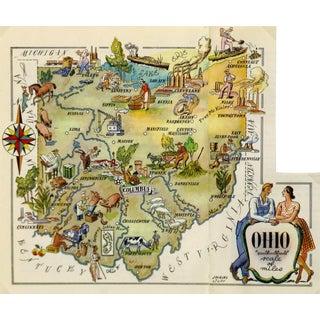 Vintage Ohio Pictorial Map, 1946