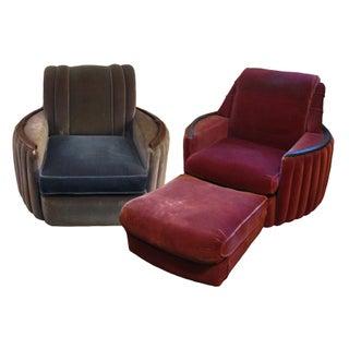 Vintage1930's Nemmer Art Deco Club Chairs - A Pair