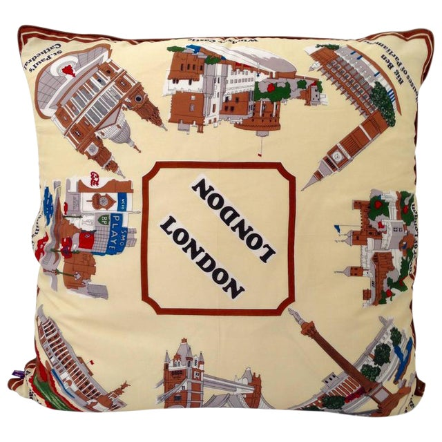 Vintage London Silk Scarf Souvenir Pillow