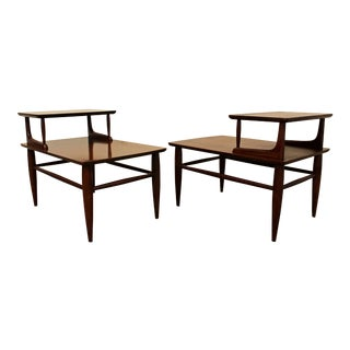 Mersman Mid-Century Two-Tiered Walnut Side Tables - A Pair