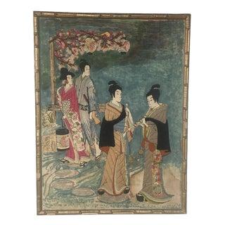 Asian Watercolor & Needlepoint Artwork