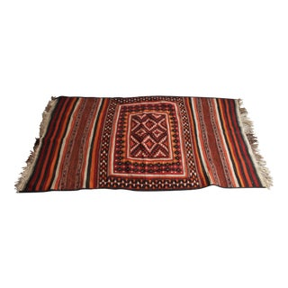 Antique North African Handwoven Geometric Wool Rug- 3′10″ × 7′