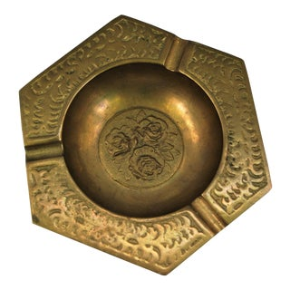 Vintage Brass Ashtray With Rose Design