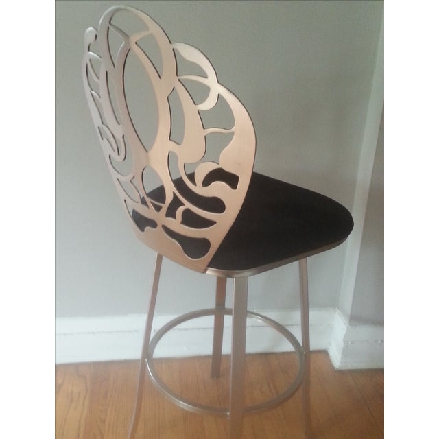 Carved Brushed Nickel Barstools - A Pair - Image 7 of 9