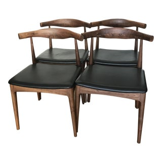 Mid-Century Walnut Dining Chairs - Set of 4