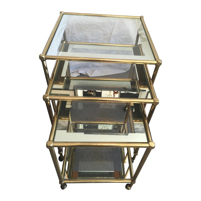 Brass Nesting Tables, Pace Style - Set of 3 - Image 1 of 5