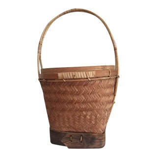 Rattan & Wood Wrapped Basket