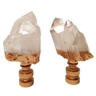Quartz Crystal & Gold Gilt Lamp Finials - A Pair